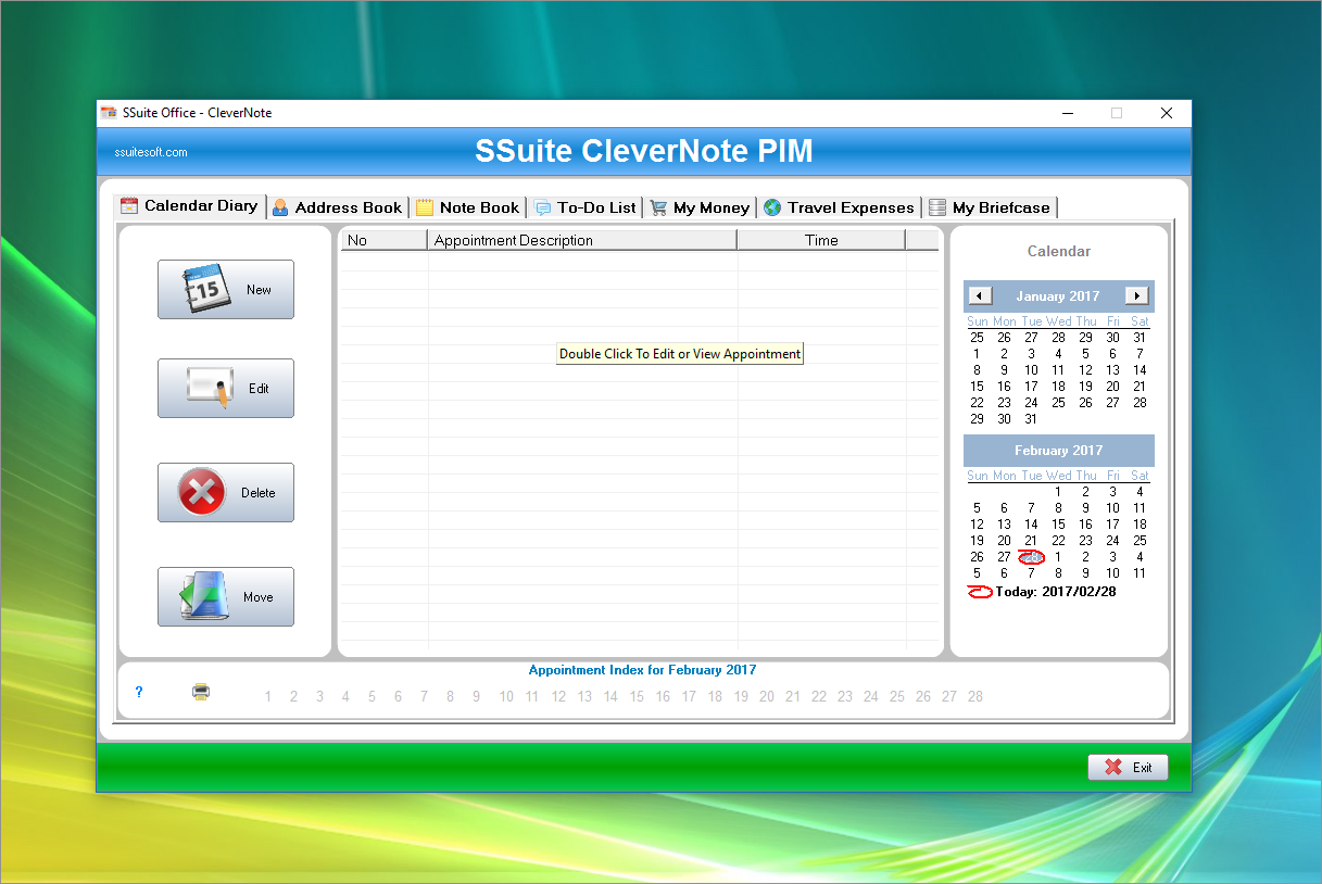 SSuite CleverNote PIM Screen shot