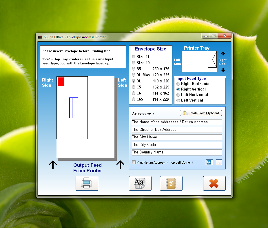 SSuite Envelope Printer full screenshot