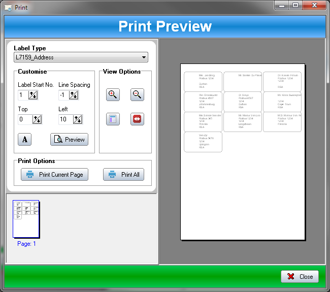 SSuite Label Printer Screen shot