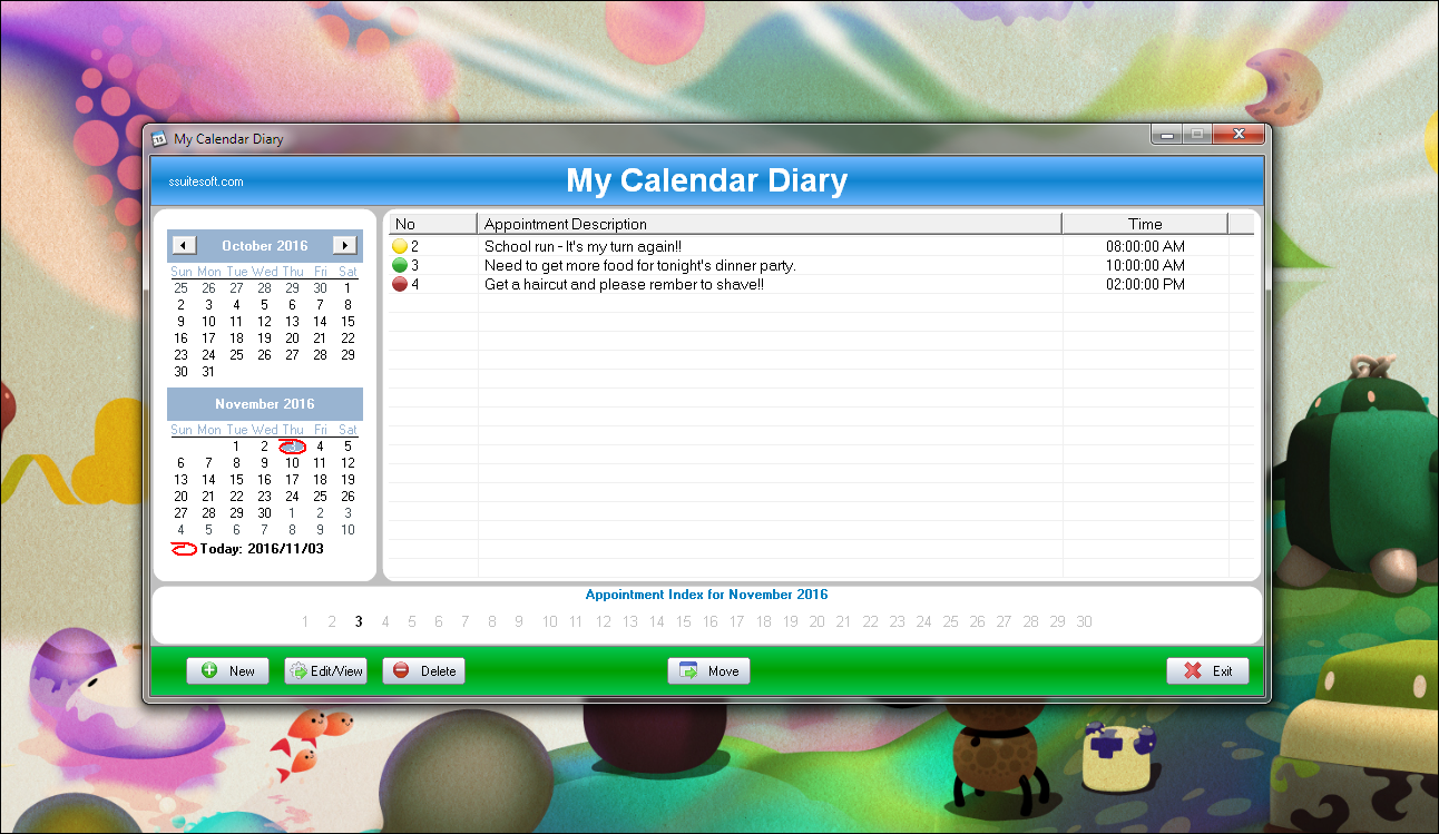 Calendar Diy Software : My calendar diary ssuite office software