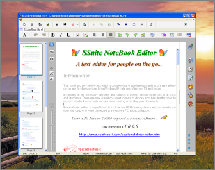 Screenshot of SSuite NoteBook Editor text editor. This small text editor has just enough functionality to start you on writing that important novel, short-story or article, without any bells and whistles to distract you. It also includes all the necessary editing short-cut keys for power users. Get writing from the first moment you start the application. It has all the important functions and text formatting needed to get you busy. Full statistics are visible on the status bar, keeping you abreast of your text document as you type.Updated for the latest Dekstop, Laptop, and Surface Pro tablets.
