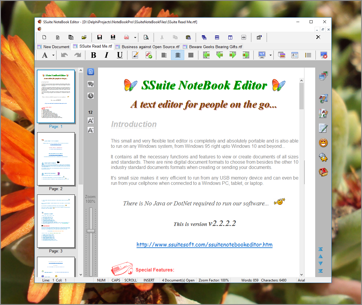 SSuite NoteBook Editor Screen shot