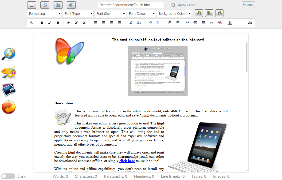 Ssuite scaramouche touch online text editor ssuite office software a cross platform browser - Office software applications ...