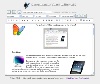 Screenshot of SSuite Office Scaramouche Touch Text Editor. Updated for the latest Desktop, Laptop, Mobile devices, iPads, Android tablets, and Surface Pro tablets.
