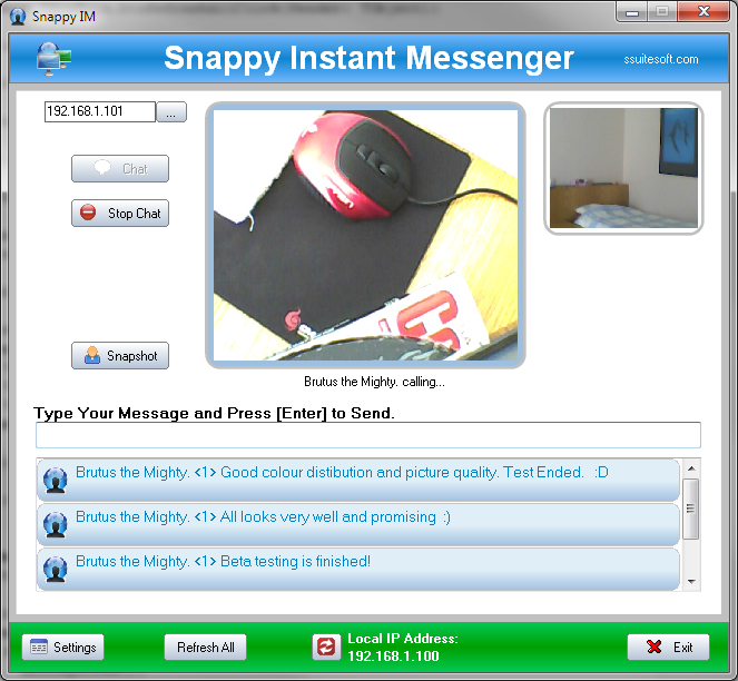 Snappy im lan chat video messenger ssuite office software a single person to person im video - Office messaging software ...