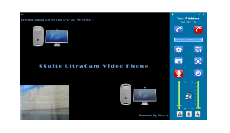 Screenshot of SSuite UltraCam Video Phone Powered by the DirectX platform. This video phone runs on any LAN or Wi-Fi system with real time, 30fps, screen video capture. Compatible with the latest Desktops, Laptops, and Surface Pro tablets. For Windows 7, 8, and 10 and beyond. This application is highly hardware dependant.