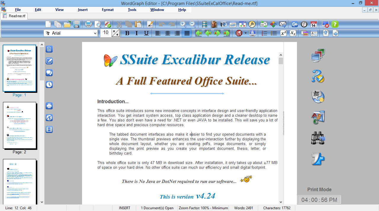 SSuite WordGraph Editor freeware screenshot